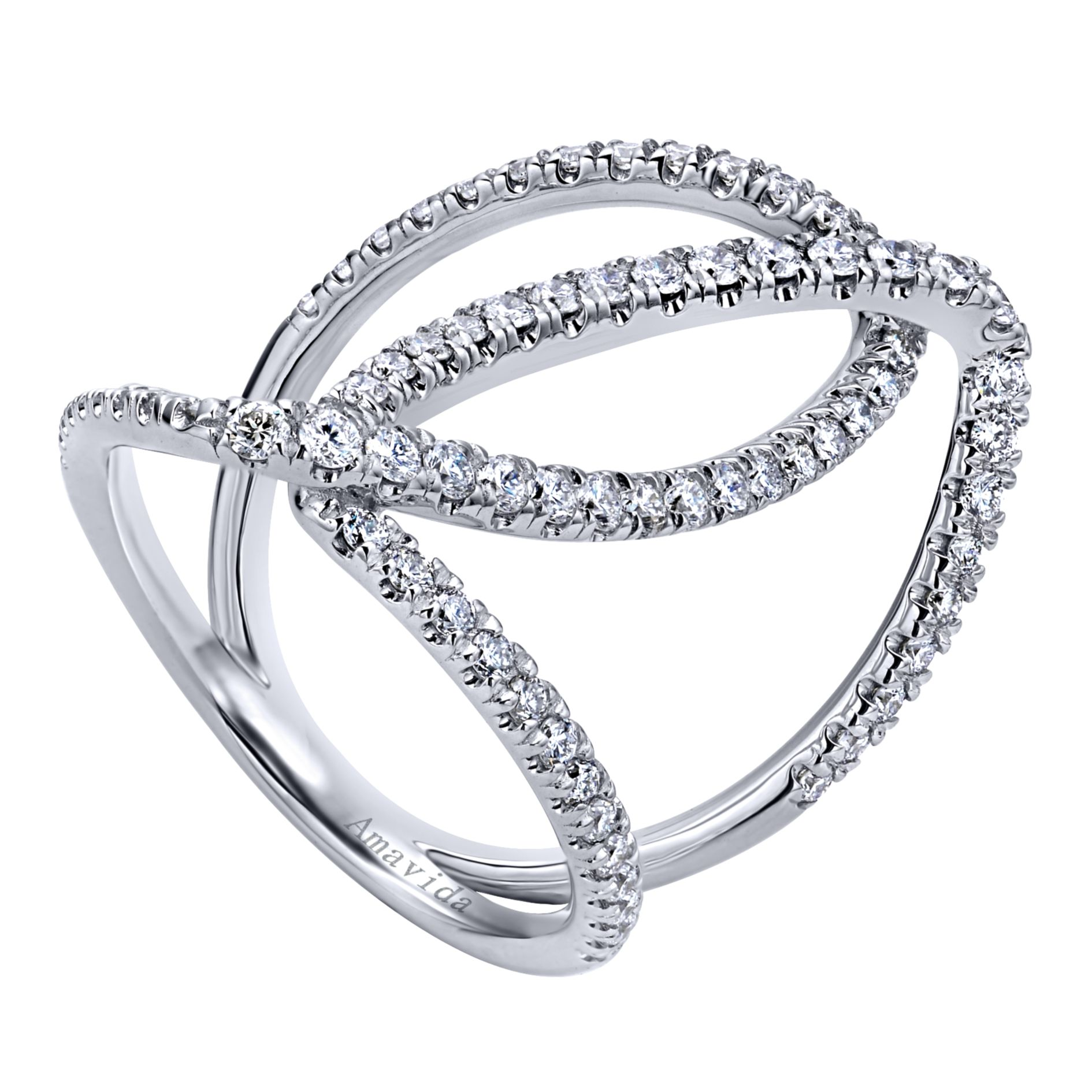 Rings - WHITE GOLD WIDE BAND DIAMOND LADIES RING - image #3