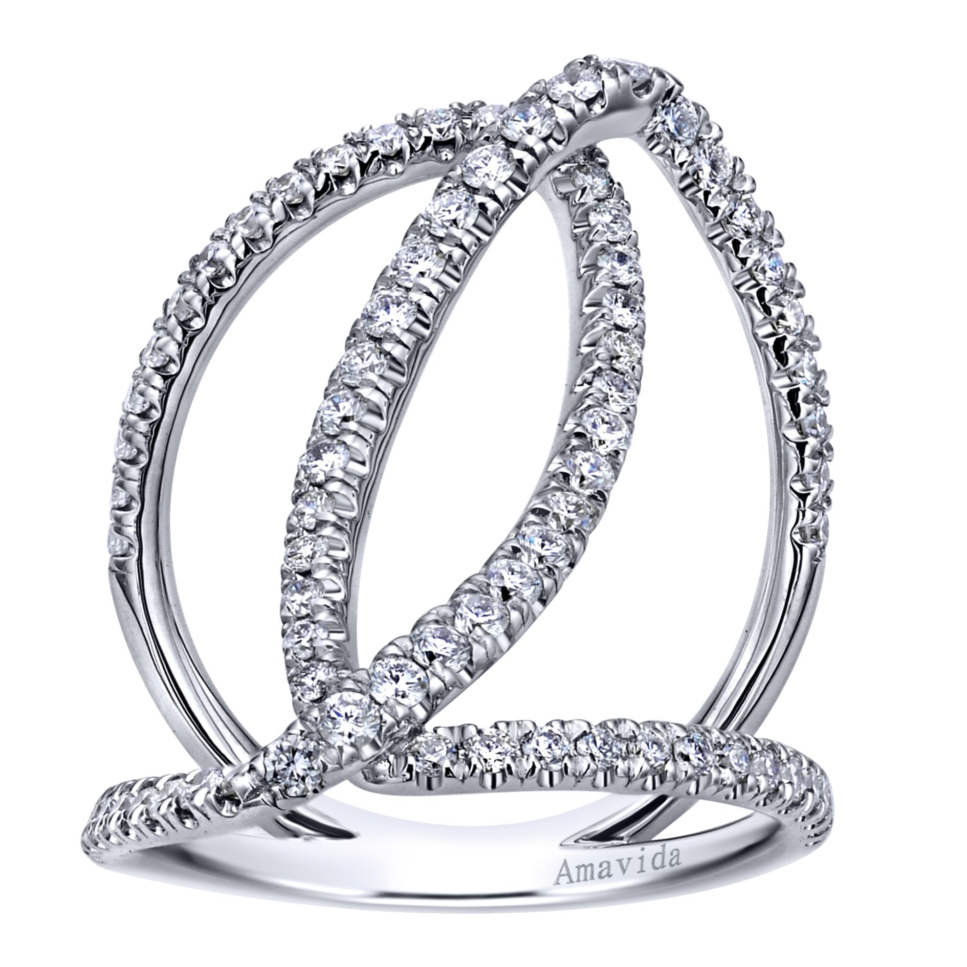 Rings - WHITE GOLD WIDE BAND DIAMOND LADIES RING - image #4