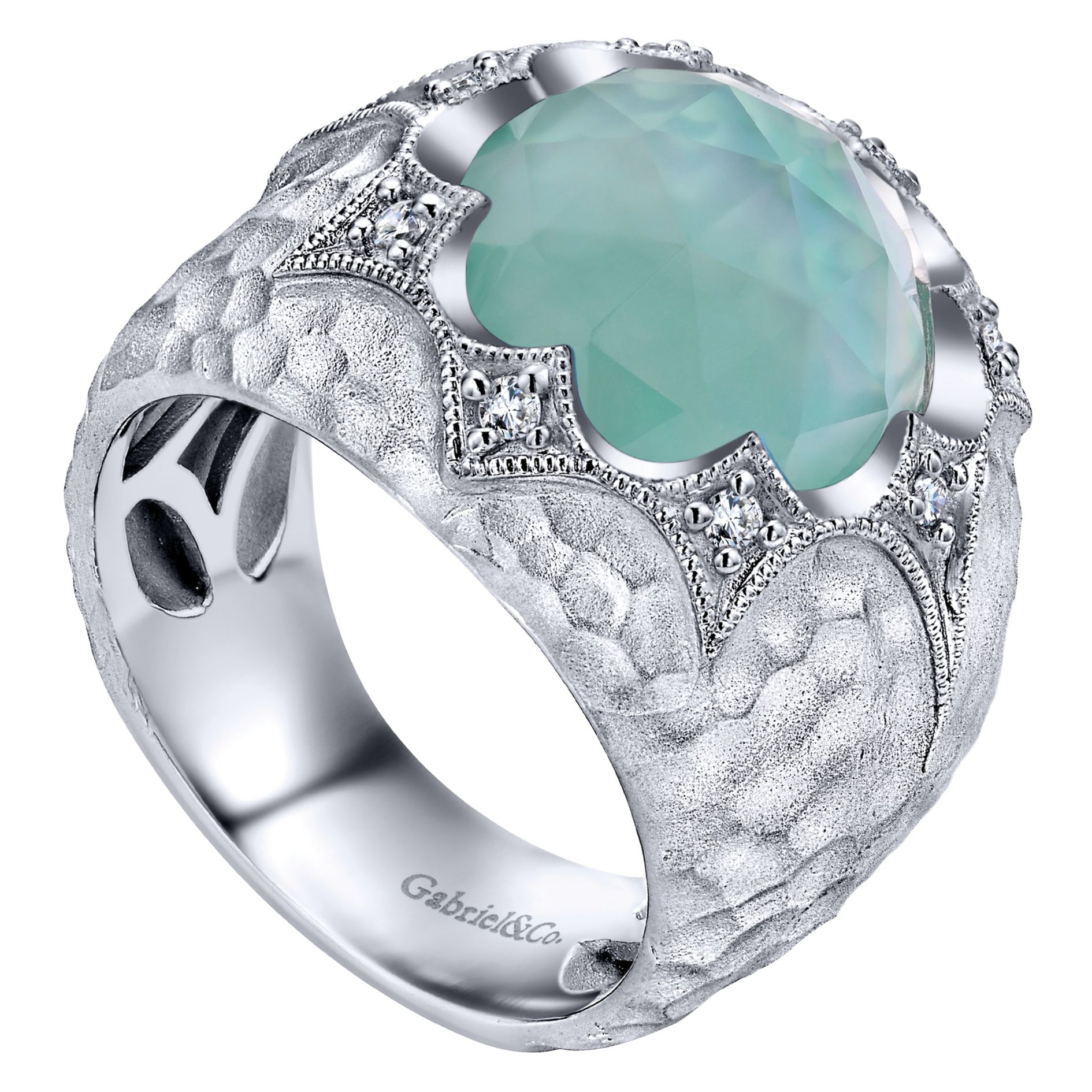 Rings - SILVER FASHION MULTI COLOR STONE LADIES RING - image #3