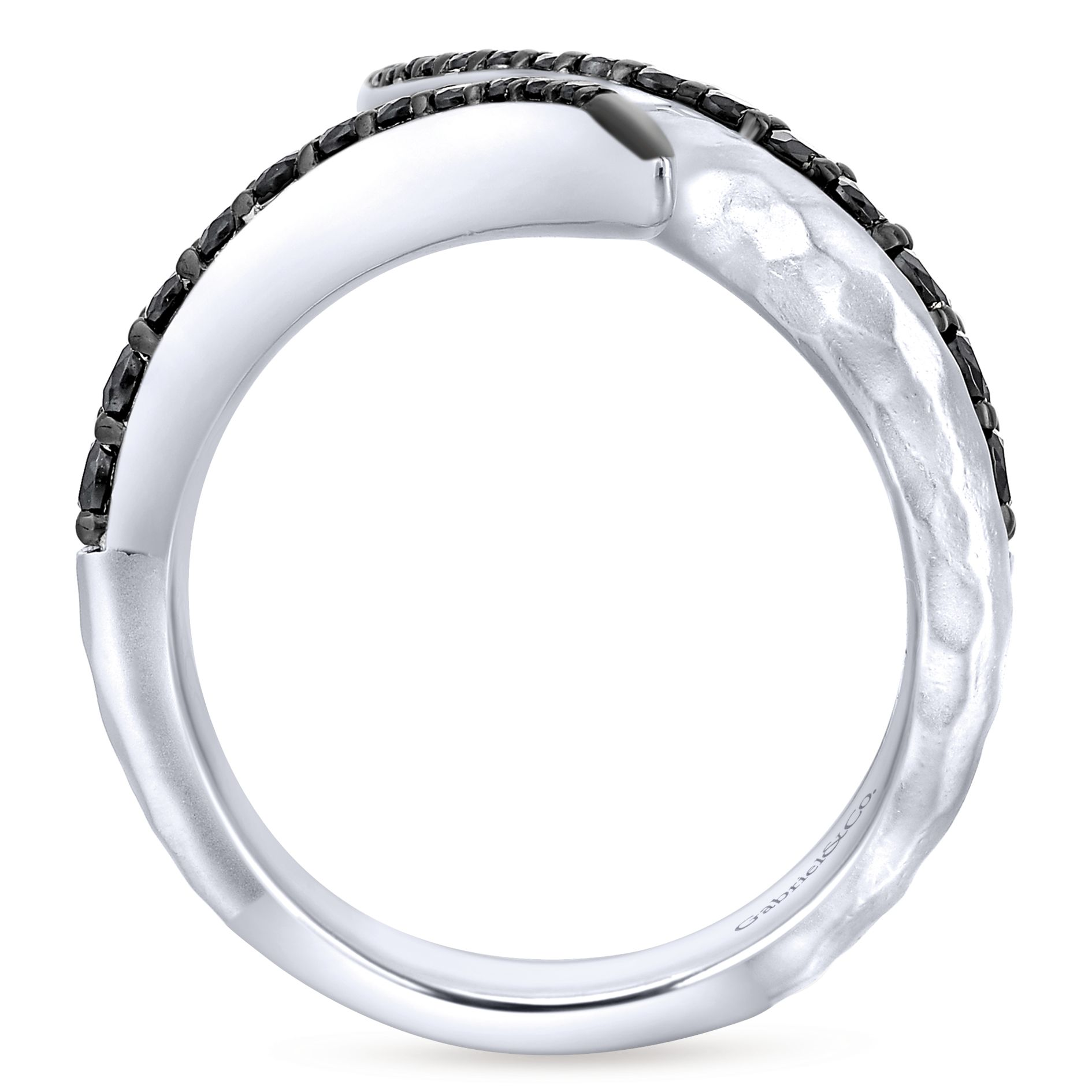 Rings - SILVER FASHION BLACK SPINEL LADIES RING - image #2