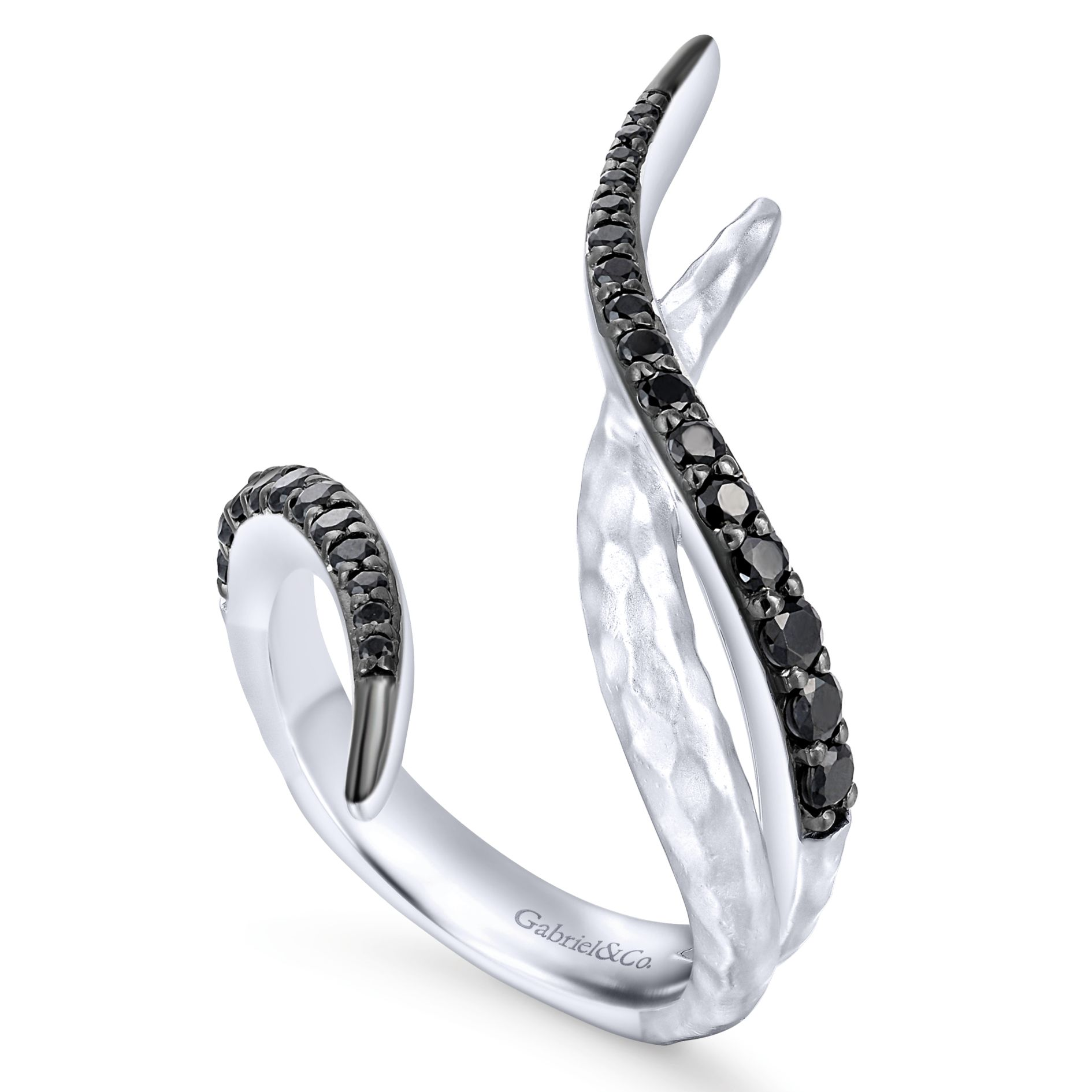 Rings - SILVER FASHION BLACK SPINEL LADIES RING - image #3