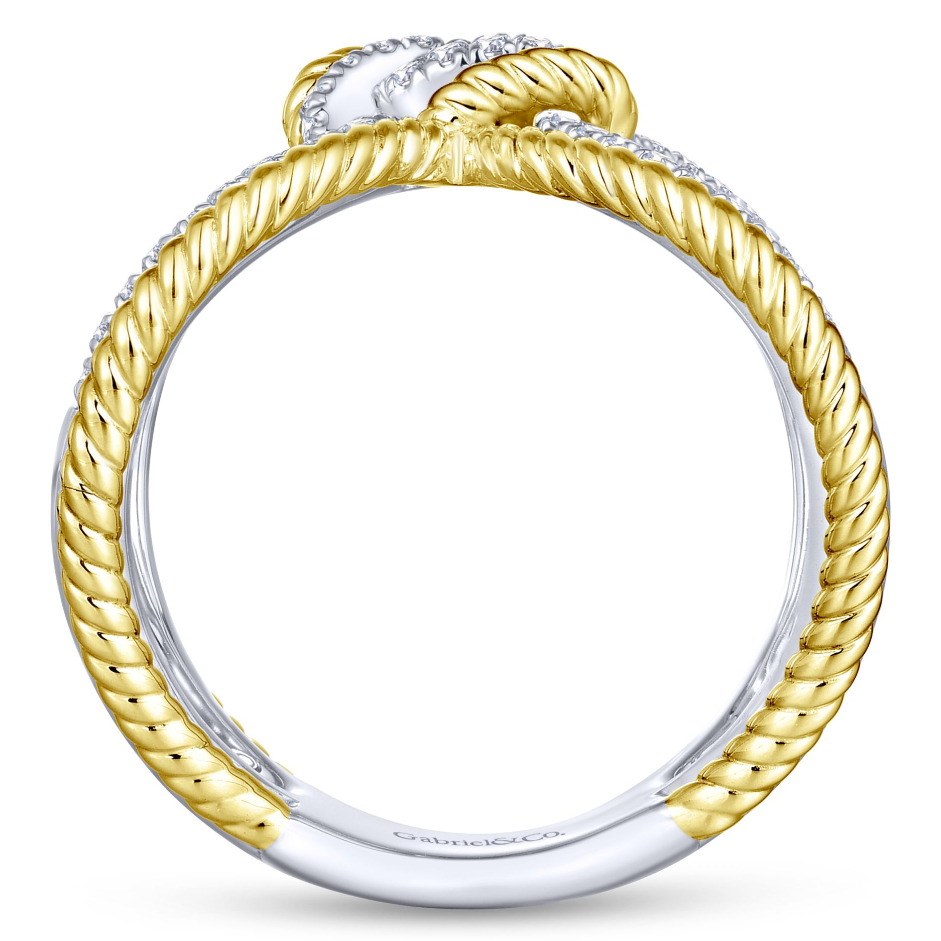 Rings - YELLOW/WHITE GOLD TWISTED DIAMOND LADIES RING - image #2