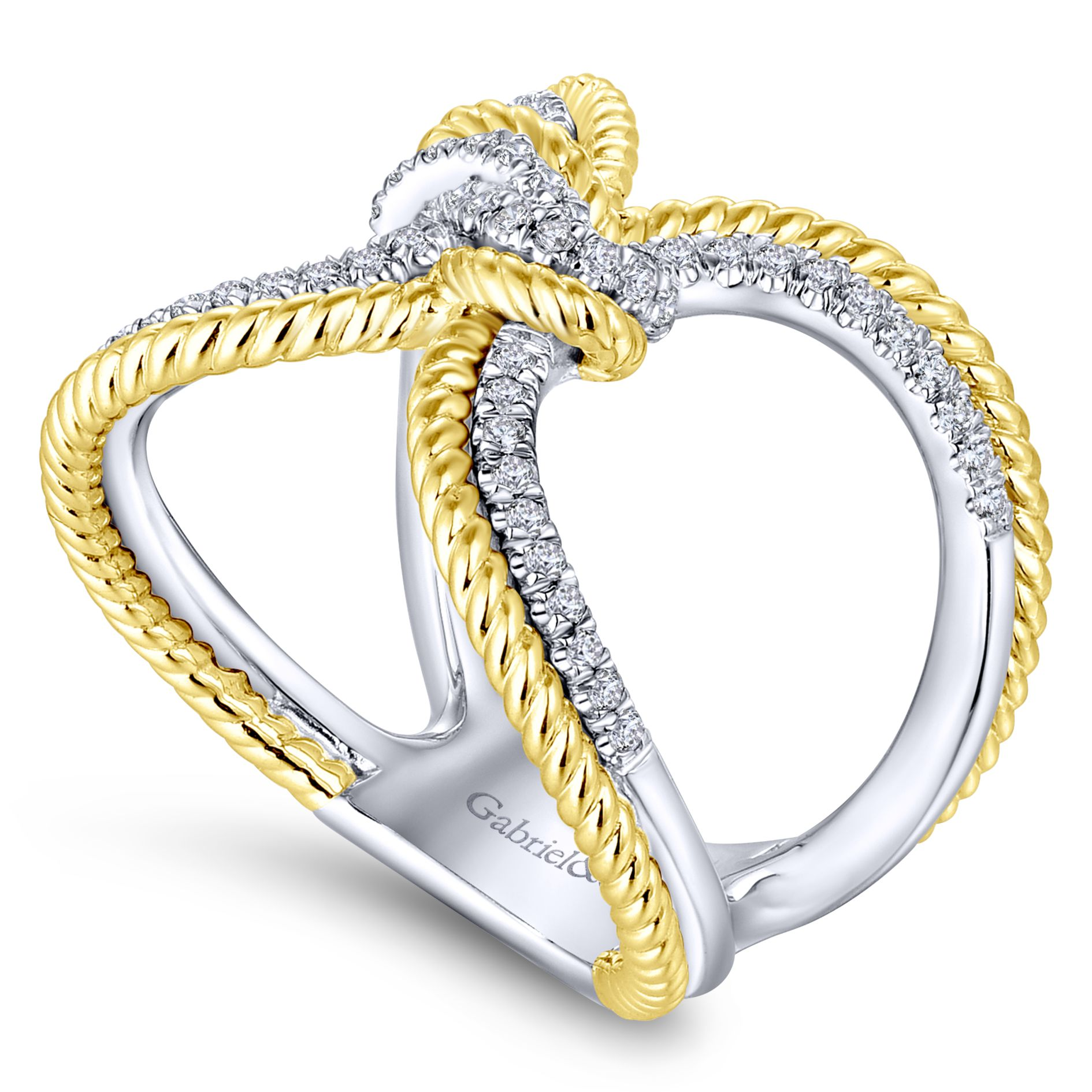 Rings - YELLOW/WHITE GOLD TWISTED DIAMOND LADIES RING - image #3