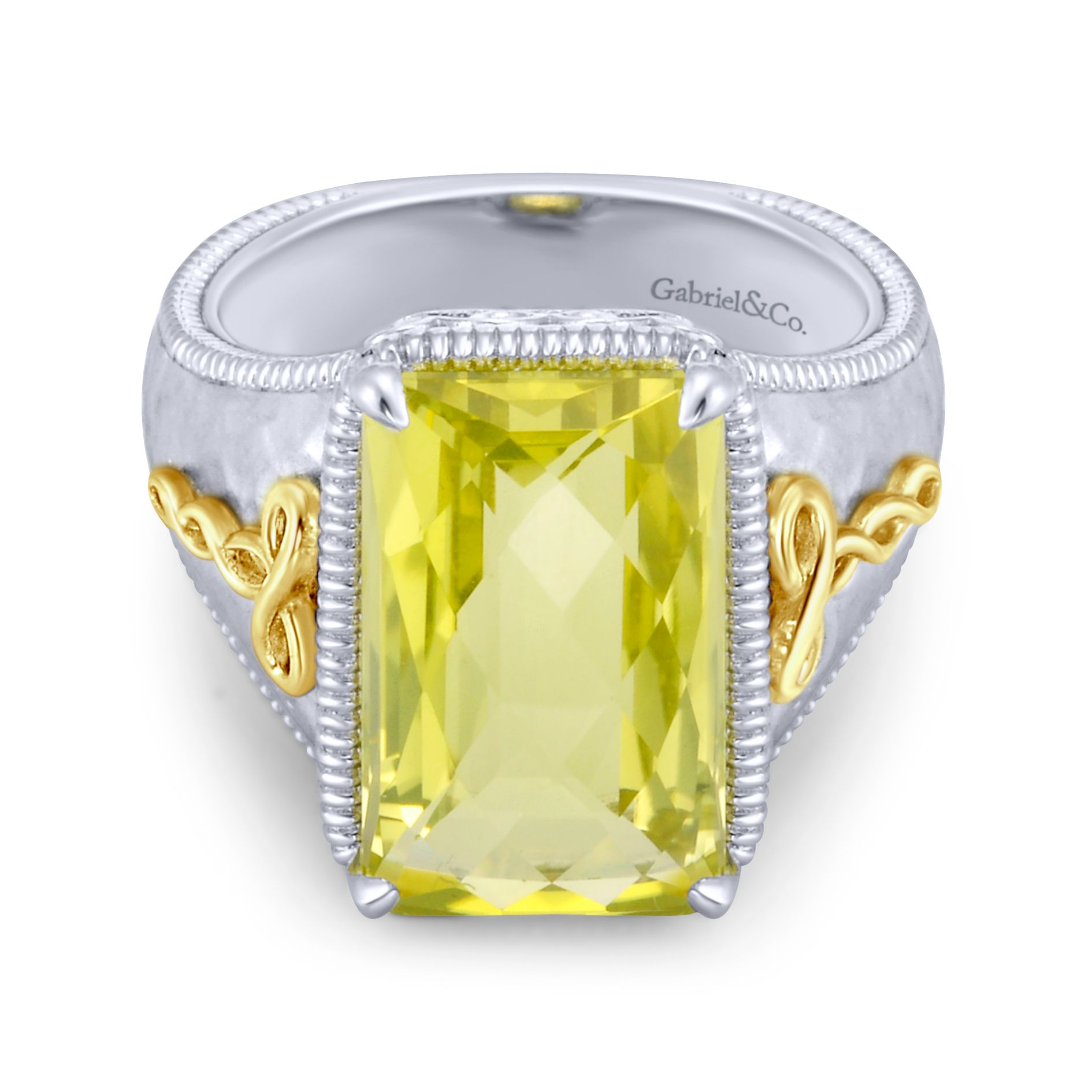 Rings - SILVER/18K YELLOW GOLD FASHION LEMON QUARTZ LADIES RING