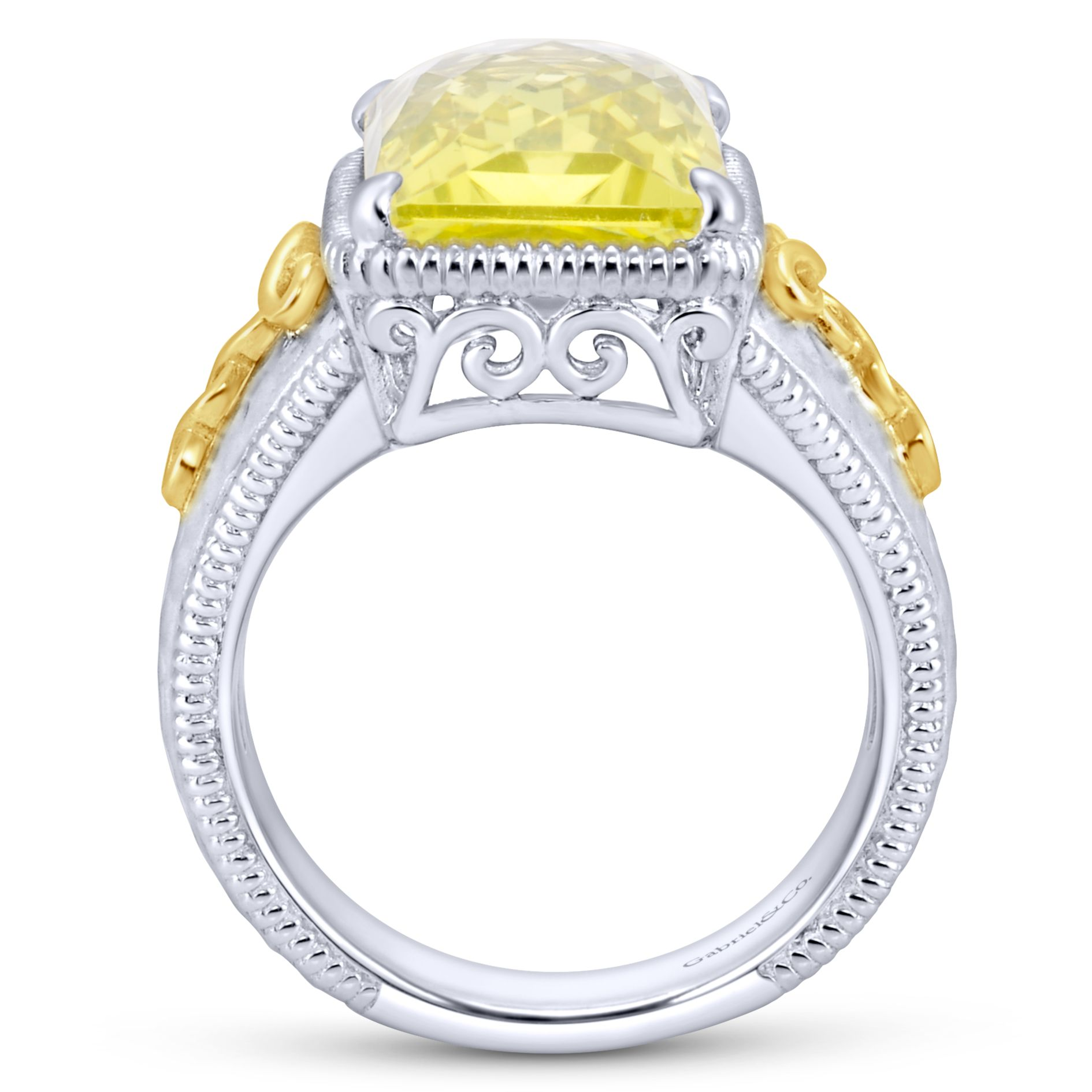 Rings - SILVER/18K YELLOW GOLD FASHION LEMON QUARTZ LADIES RING - image #2