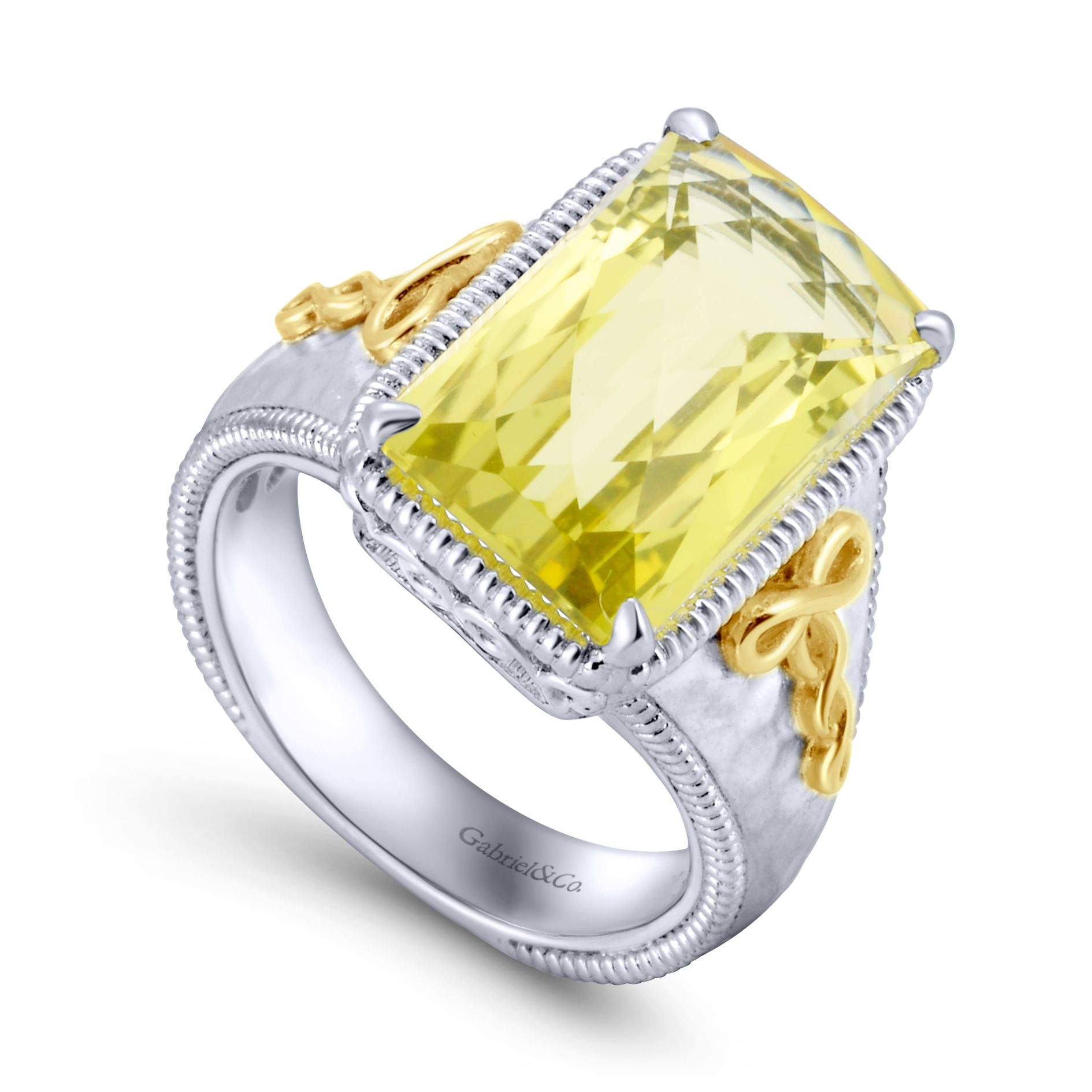 Rings - SILVER/18K YELLOW GOLD FASHION LEMON QUARTZ LADIES RING - image #3
