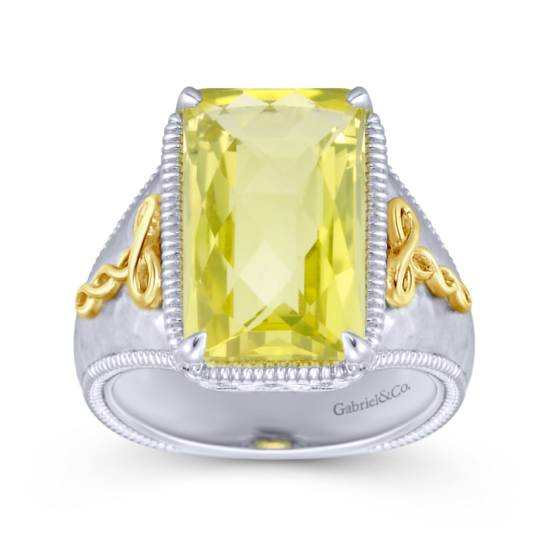 Rings - SILVER/18K YELLOW GOLD FASHION LEMON QUARTZ LADIES RING - image #4
