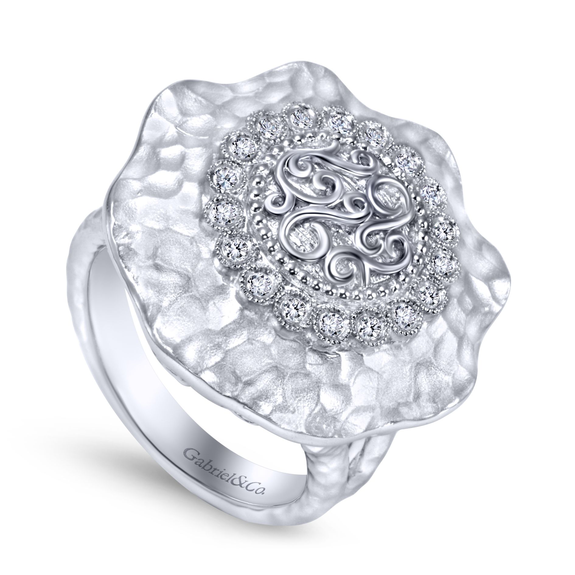 Rings - SILVER FASHION DIAMOND LADIES RING - image #3