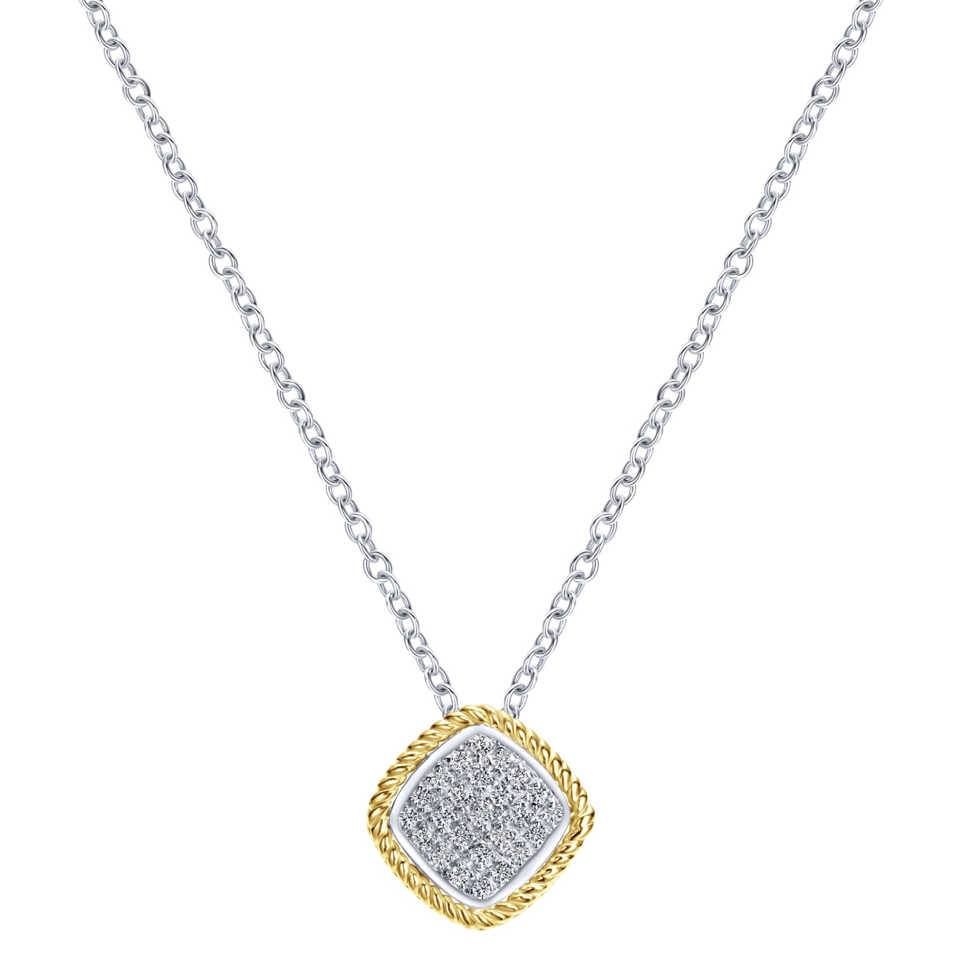 Necklaces - WHITE GOLD FASHION DIAMOND NECKLACE