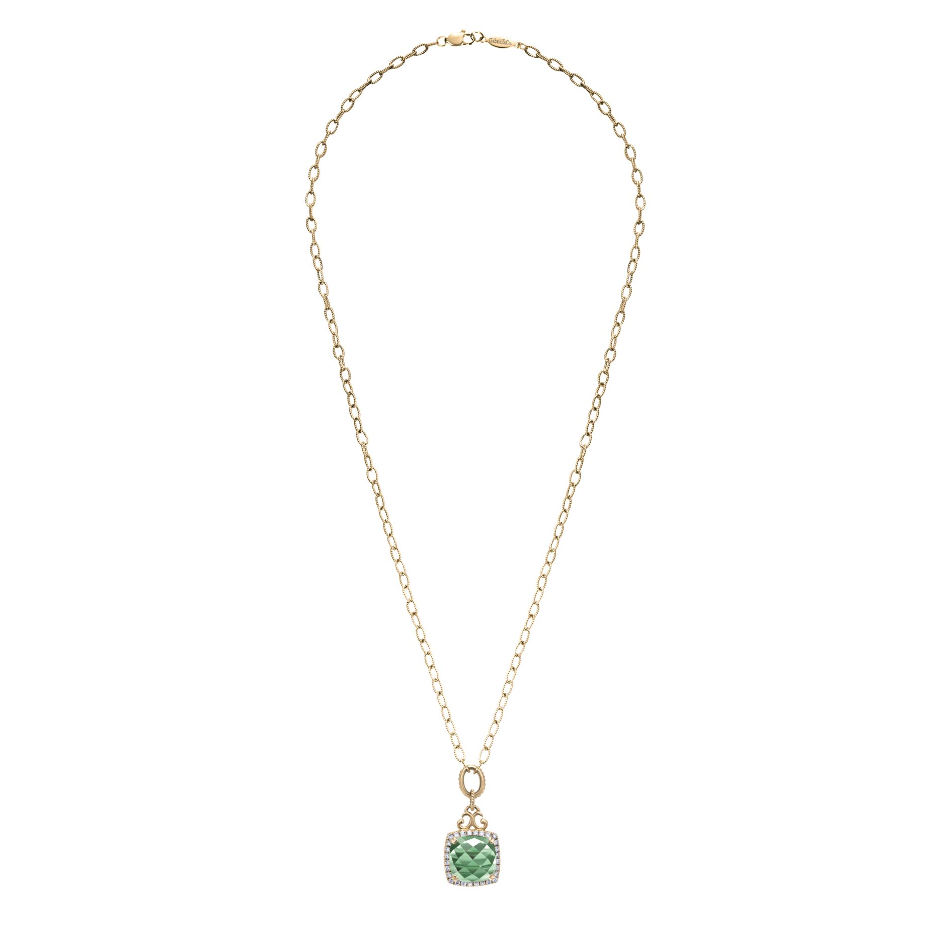 Necklaces - YELLOW GOLD FASHION DIAMOND GREEN AMETHYST NECKLACE - image #2