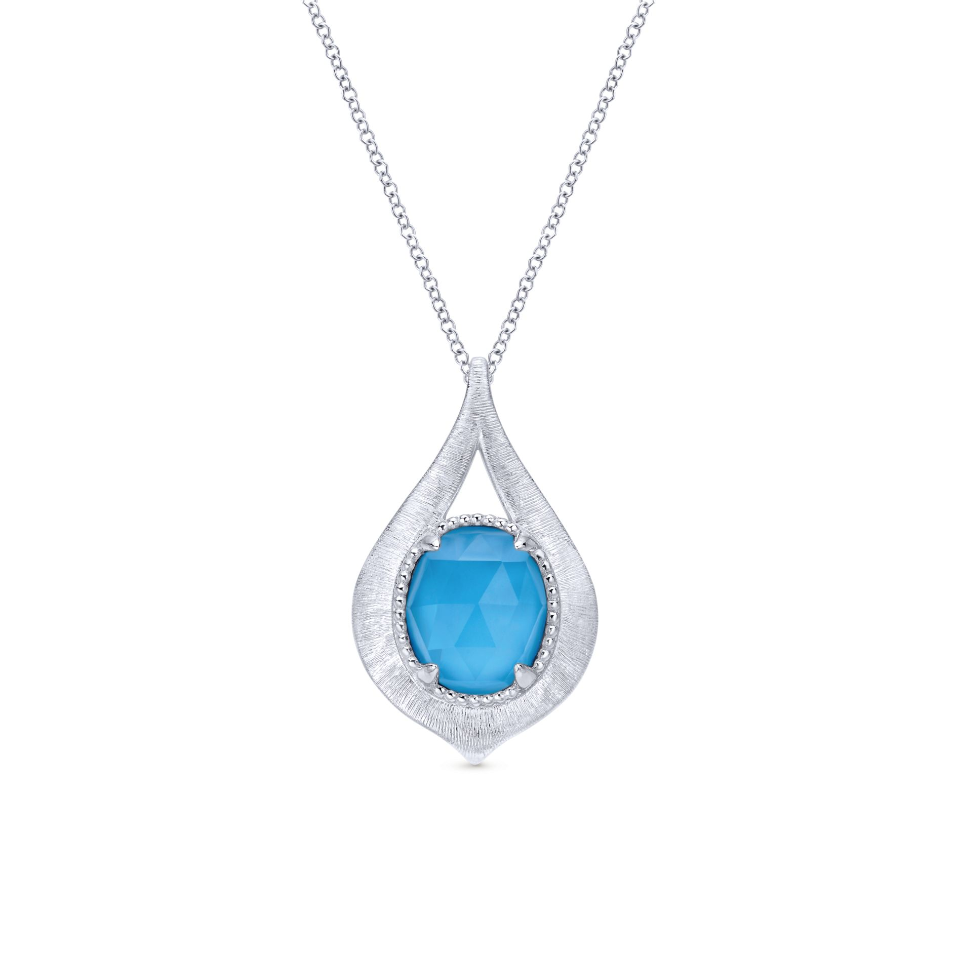 Necklaces - SILVER FASHION ROCK CRYSTAL&TURQUOISE NECKLACE
