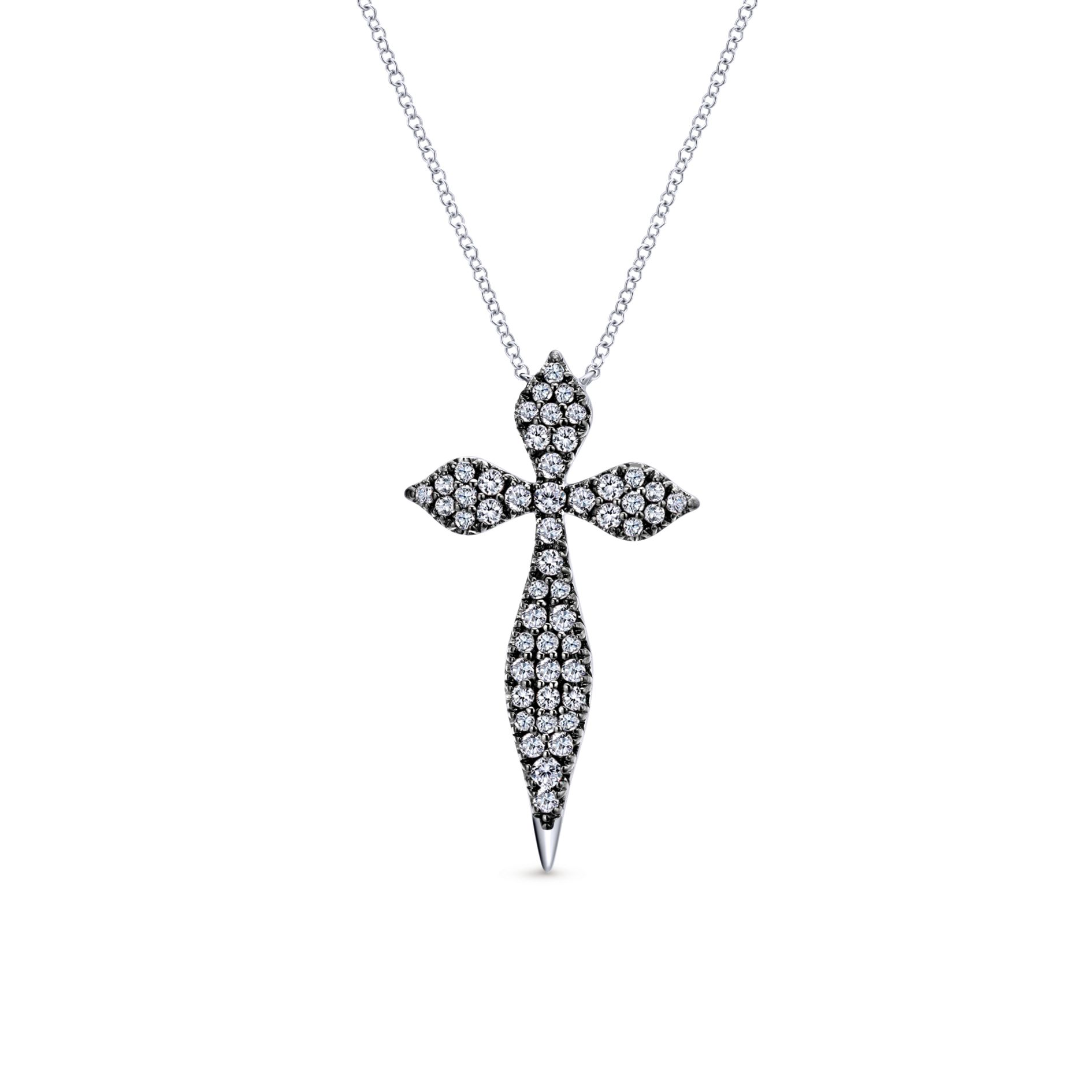 Necklaces - SILVER CROSS WHITE SAPPHIRE NECKLACE