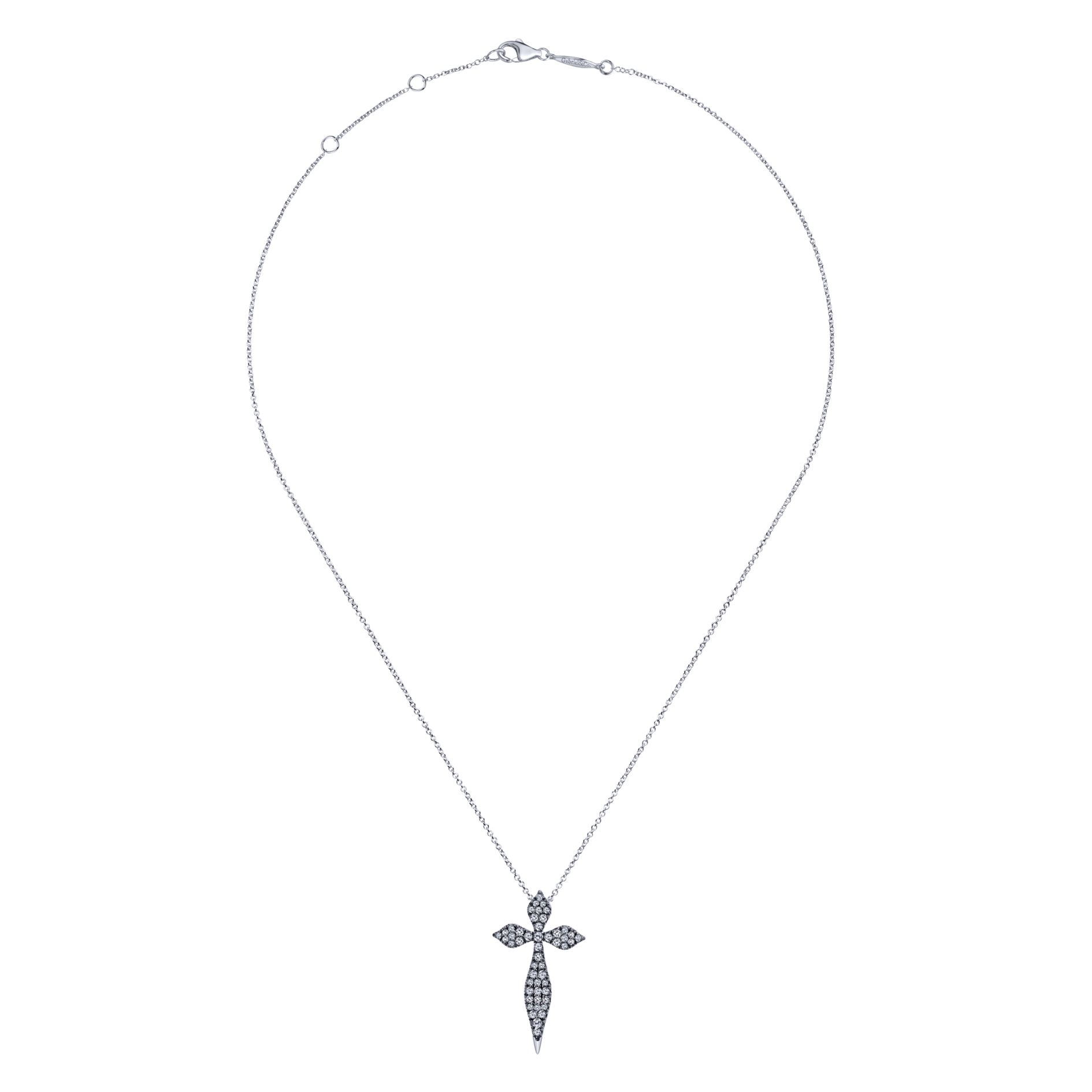 Necklaces - SILVER CROSS WHITE SAPPHIRE NECKLACE - image #2