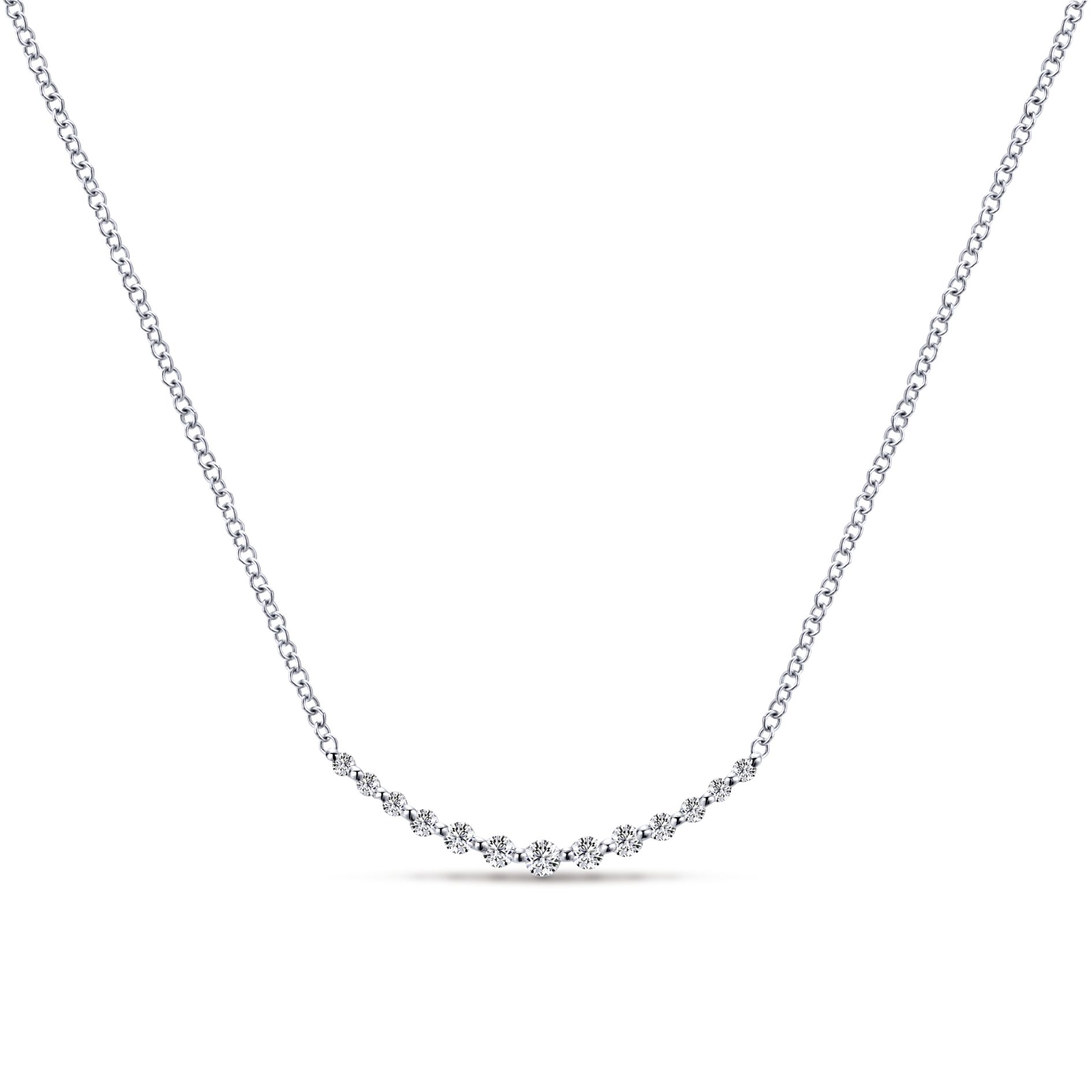 Necklaces - WHITE GOLD BAR DIAMOND NECKLACE