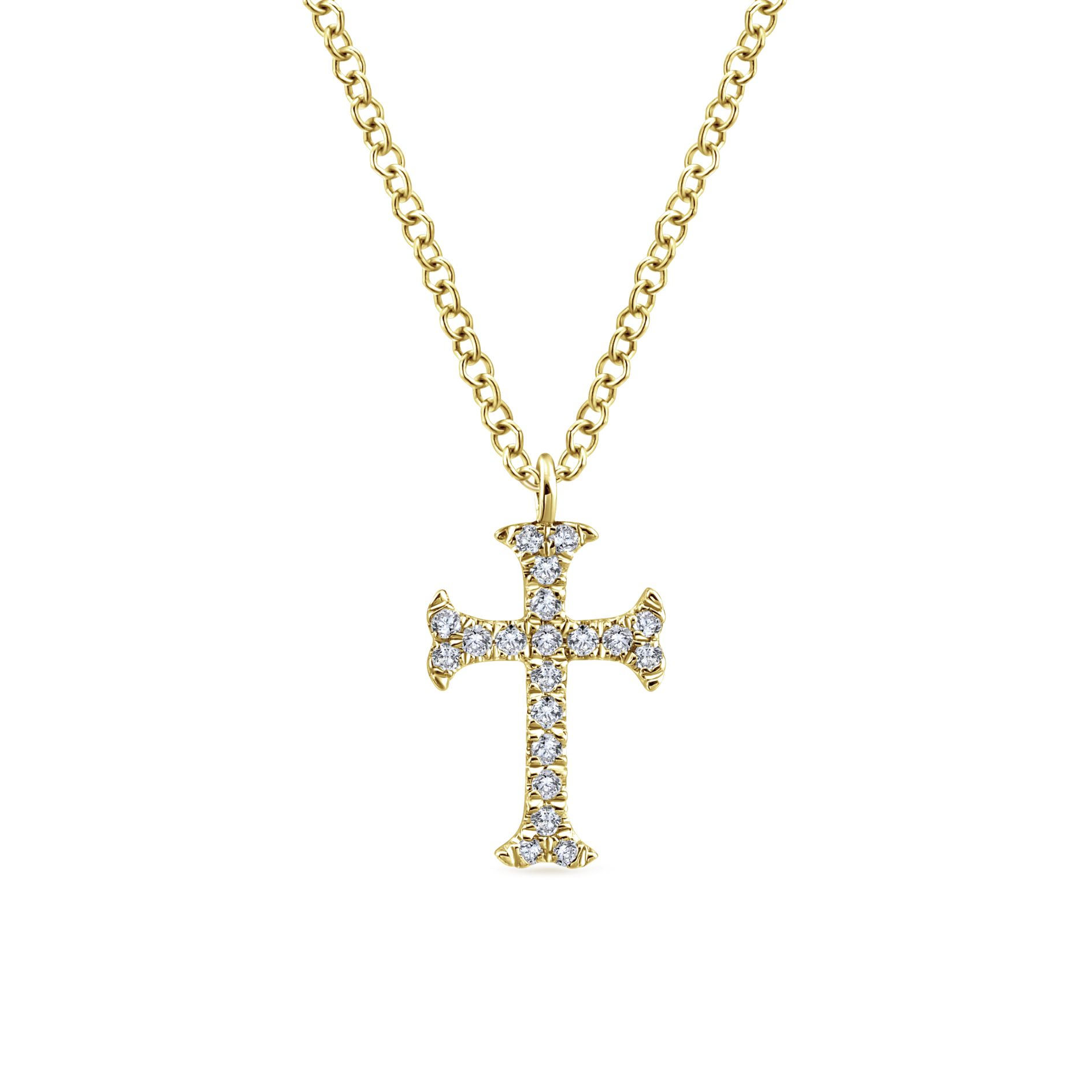 Necklaces - YELLOW GOLD CROSS DIAMOND NECKLACE
