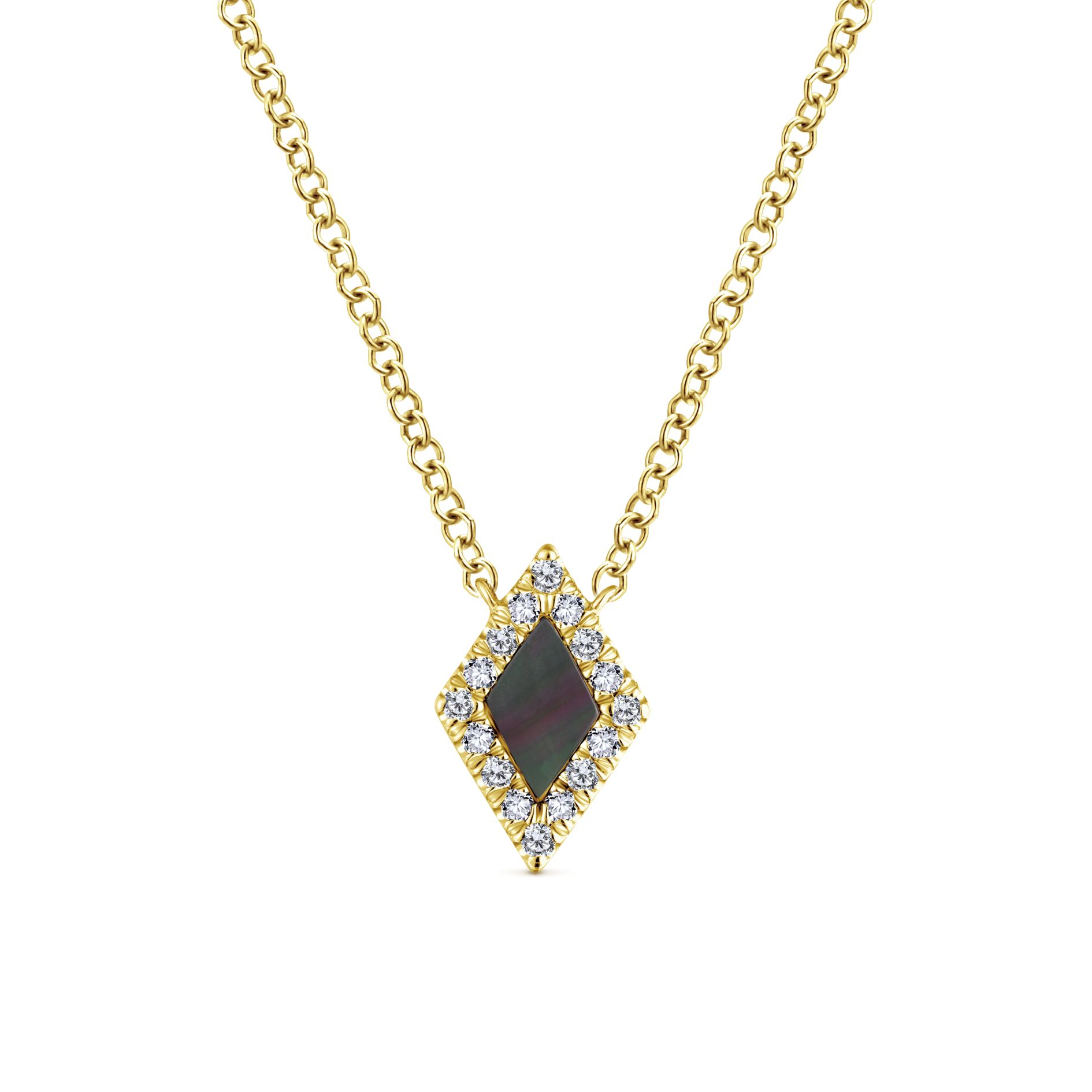 Necklaces - YELLOW GOLD FASHION DIAMOND BLACK MOTHER OF PEARL NECKLACE