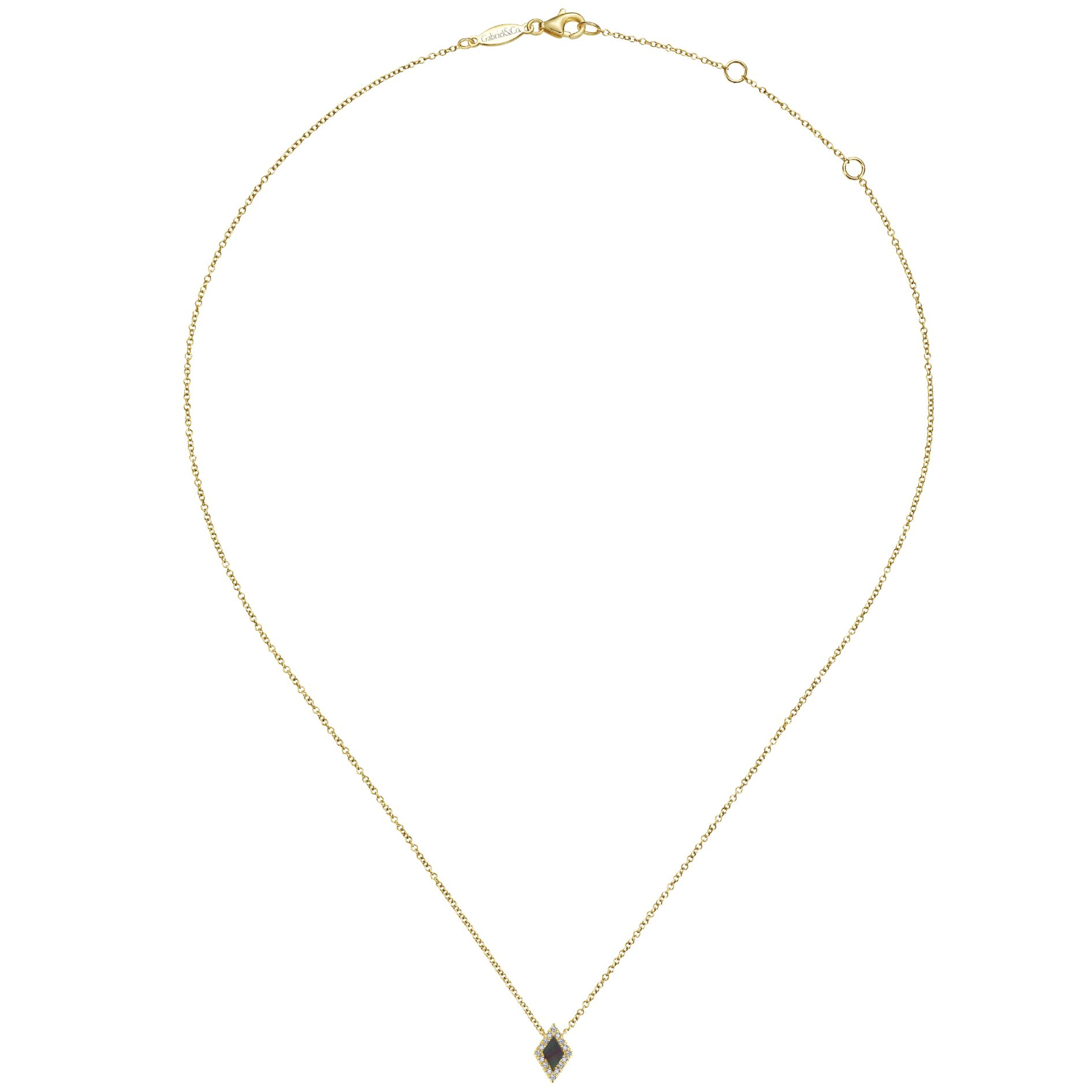 Necklaces - YELLOW GOLD FASHION DIAMOND BLACK MOTHER OF PEARL NECKLACE - image #2