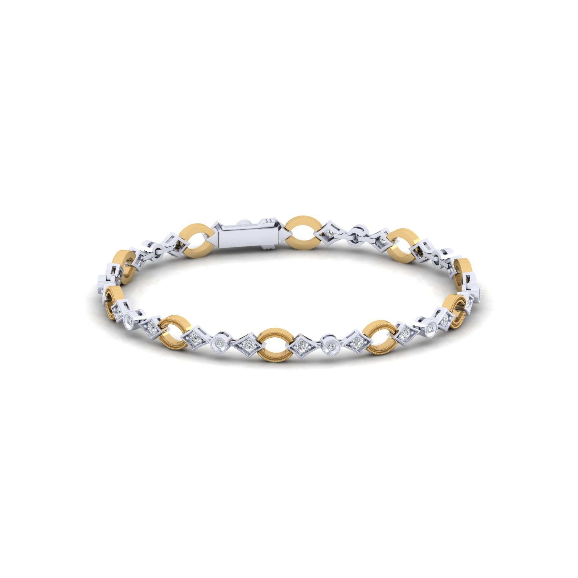 Bracelets - YELLOW/WHITE GOLD TENNIS DIAMOND BRACELET