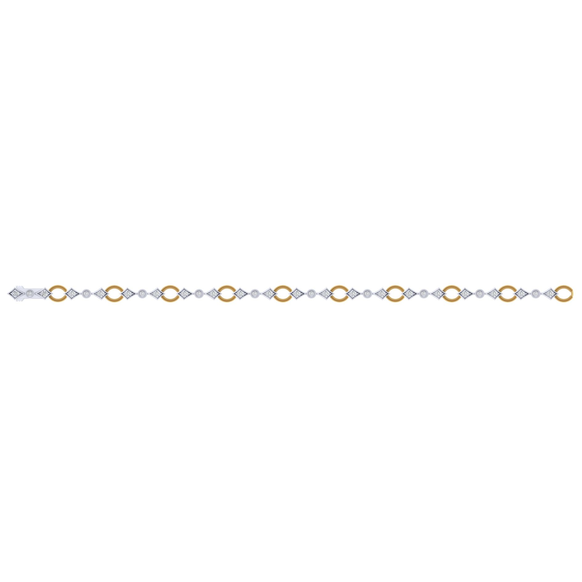 Bracelets - YELLOW/WHITE GOLD TENNIS DIAMOND BRACELET - image #3