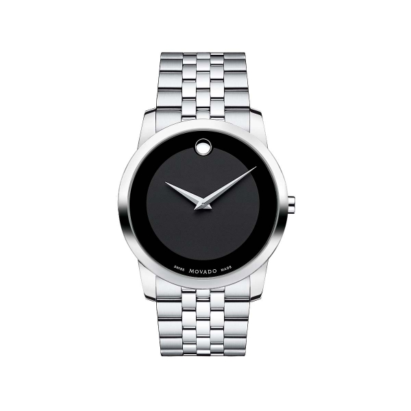 Men's Museum Classic Watch - Men's Museum Classic watch, 40 mm stainless steel case, black Museum dial with tone-on-tone outer ring and silver-toned dot and hands, stainless steel link bracelet with deployment clasp, sapphire crystal, Swiss quartz movement, water resistant to 30 meters.