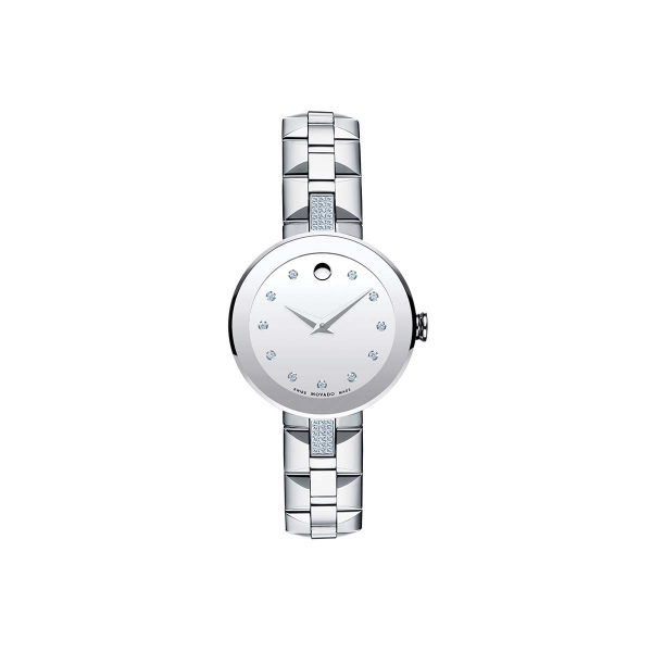 Women's Sapphire Watch - Women's Sapphire watch, 28.0 mm stainless steel bezel-free case with flat edge-to-edge sapphire crystal and 36 north/south diamond accents, round silver mirror dial with 11 diamond markers, silver-toned signature dot and hands, (0.183 t.c.w. diamonds), stainless steel pyramid-shaped link bracelet with butterfly deployment clasp, Swiss quartz movement, water resistant to 30 meters.