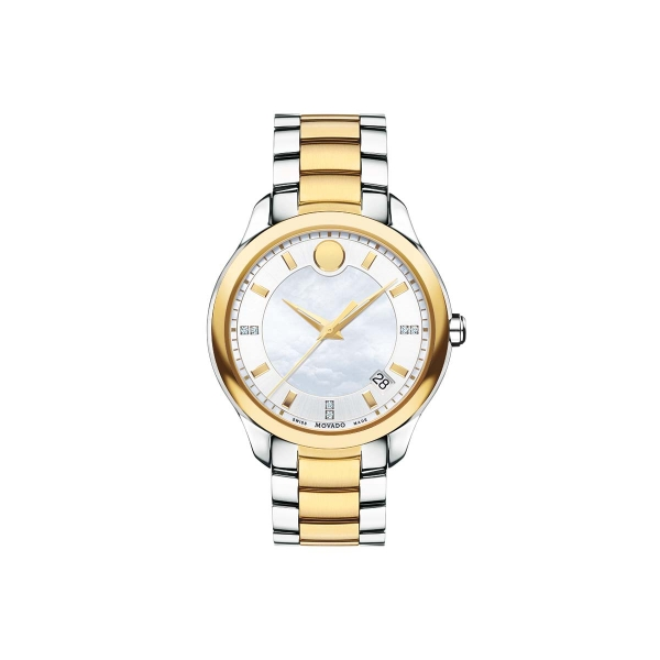 Women's Bellina Watch - Women's Bellina watch, 36 mm two-toned solid and yellow gold PVD-finished stainless steel case with sculpted sport lugs, round white mother-of-pearl 3-hand dial with yellow gold-toned flat signature dot and applied indices, diamond-set markers (0.023 t.c.w.), yellow gold-toned hands, and date display, two-toned solid and yellow gold PVD-finished stainless steel link bracelet with push-button deployment clasp, sapphire crystal, Swiss quartz movement, water resistant to 30 meters.