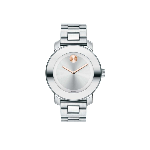 Mid-size Movado BOLD Watch - Mid-size Movado BOLD watch, 36 mm stainless steel case with mirror-finish bezel, silver-toned sunray dial with rose gold-toned sunray dot and hands, stainless steel link bracelet with deployment clasp, K1 crystal, Swiss quartz movement, water resistant to 30 meters.