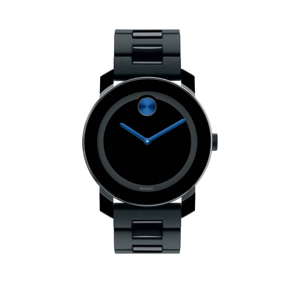 Large Movado BOLD Watch - Large Movado BOLD watch, 42 mm black TR90 composite material and stainless steel case, black dial with cobalt blue sunray dot and hands, black TR90, black polyurethane and stainless steel link bracelet with deployment clasp, K1 crystal, Swiss quartz movement, water resistant to 30 meters.