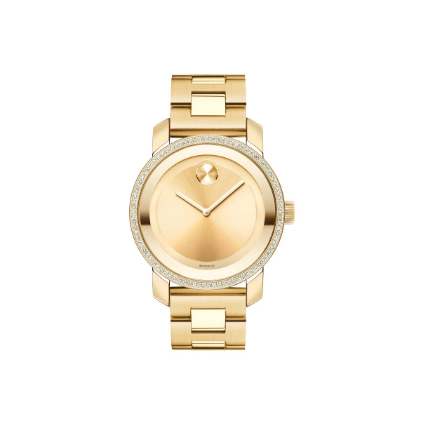 Mid-size Movado BOLD Diamond Watch - Mid-size Movado BOLD Diamond watch, 36 mm yellow gold ion-plated stainless steel case with 90-diamond bezel (0.378 t.c.w.), yellow gold-toned sunray dial with matching sunray dot and hands, yellow gold ion-plated stainless steel link bracelet with deployment clasp, K1 crystal, Swiss quartz movement, water resistant to 30 meters.