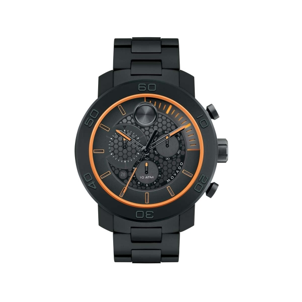 Extra-large Movado BOLD Chronograph - Extra-large Movado BOLD chronograph, 46 mm sandblasted black ion-plated titanium case and sport bezel with screw-down case-back, black honeycomb-textured dial with black subdials and sunray dot, orange and gray accents, and date display, sandblasted black ion-plated titanium, black polyurethane and stainless steel link bracelet with push-button deployment clasp, K1 crystal, 1/1 Swiss quartz chronograph movement, water resistant to 100 meters.