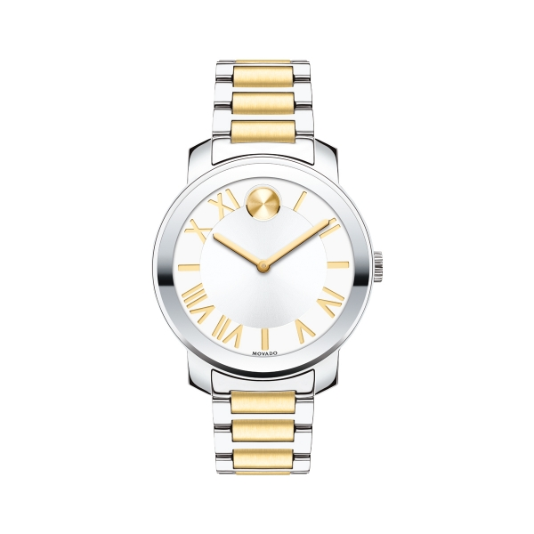 Mid-size Movado BOLD Luxe Watch - Mid-size Movado BOLD Luxe watch, 39 mm stainless steel case with mirror-finish bezel, silvered-white dial with yellow gold-toned sunray dot, hands and recessed Roman numerals and markers, two-toned solid and yellow gold ion-plated stainless steel link bracelet with push-button deployment clasp, K1 crystal, Swiss quartz movement, water resistant to 30 meters.