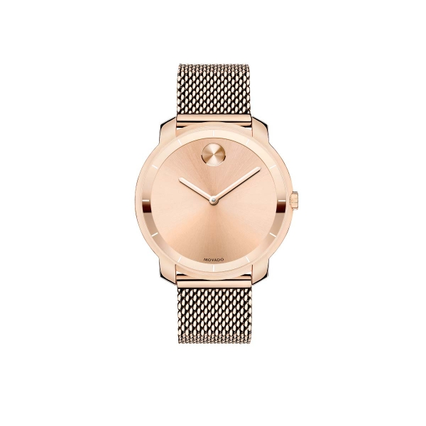 Mid-size Movado BOLD Watch - Mid-size Movado BOLD watch, flat 36 mm rose gold ion-plated stainless steel case, rose gold-toned sunray dial with polished hour index ring and rose gold-toned sunray dot and hands, rose gold ion-plated stainless steel mesh-link bracelet with mesh-textured back sizing links and deployment clasp, K1 crystal, Swiss quartz movement, water resistant to 30 meters.