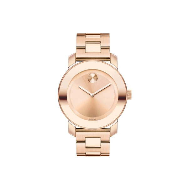 Mid-size Movado BOLD Watch - Mid-size Movado BOLD watch, 36 mm rose gold ion-plated stainless steel case with mirror-finish bezel, rose gold-toned sunray dial, rose gold ion-plated stainless steel link bracelet with deployment clasp, K1 crystal, Swiss quartz movement, water resistant to 30 meters.