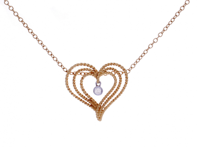 rope design heart with dangle diamond open heart