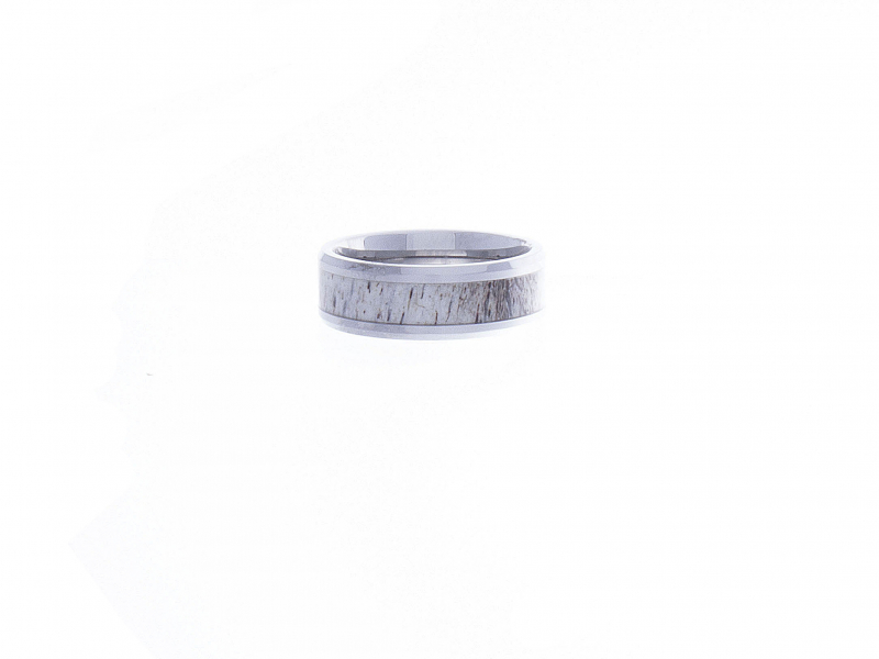 Wedding Bands - BUCK POLISHED BEVELED TUNGSTEN CARBIDE MEN'S WEDDING BAND WITH OMBRE DEER ANTLER INLAY 8MM - image #2