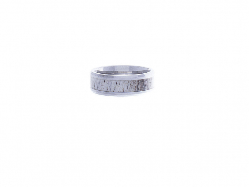 Wedding Bands - BUCK POLISHED BEVELED TUNGSTEN CARBIDE MEN'S WEDDING BAND WITH OMBRE DEER ANTLER INLAY 8MM