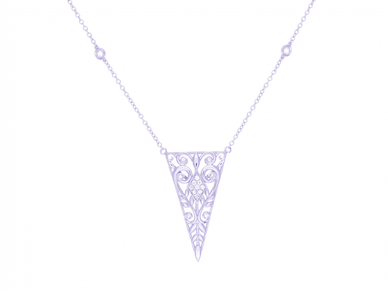 Sterling silver necklace triangle scroll floral design