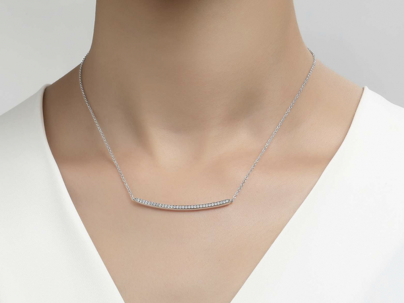 Sterling Silver Jewelry - Sterling Silver Curved Bar Necklace - image #2