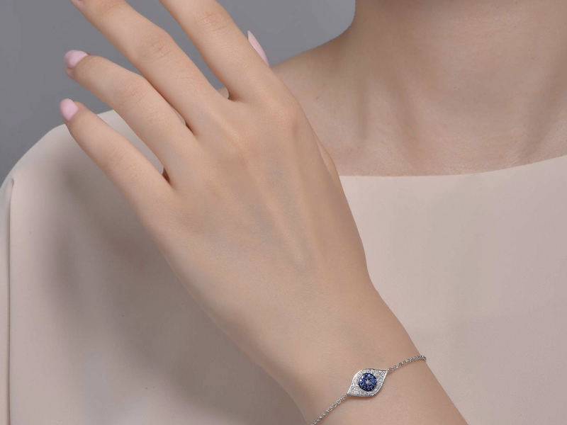 Sterling Silver Jewelry - Simple yet sophisticated. This evil eye bracelet is set with Lafonn's signature Lassaire - image #2