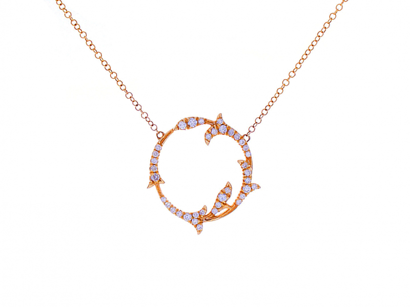circle diamond necklace leaf design