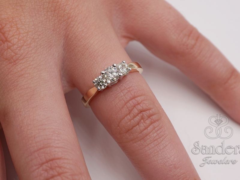 Bridal Jewelry - Three Stone Diamond Ring - image #3