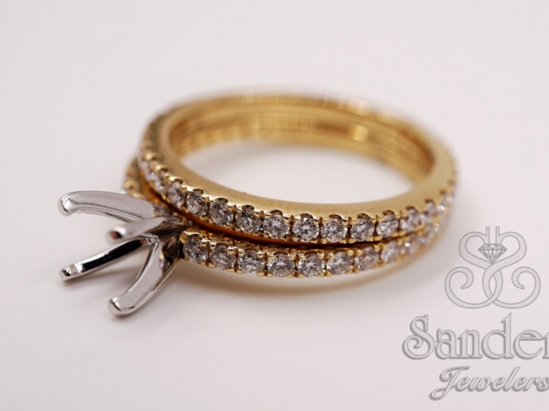 Bridal Jewelry - Solitaire Engagement Ring With Matching Band  - image #2