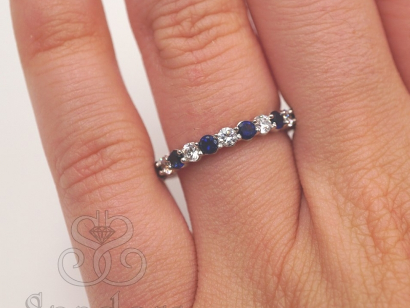Bridal Jewelry - Sapphire and Diamond Eternity Band - image 4