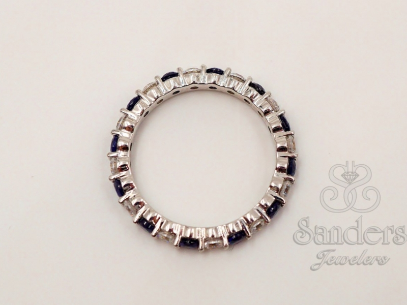 Bridal Jewelry - Sapphire and Diamond Eternity Band - image 2