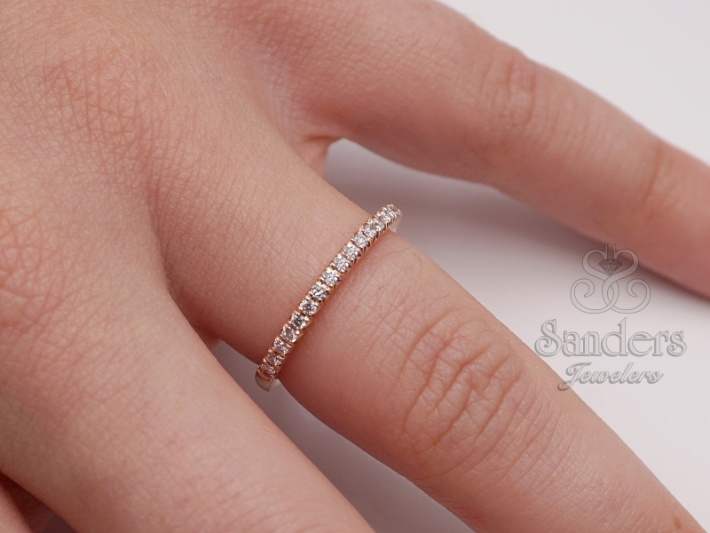 Bridal Jewelry - French Pave Diamond Band - image #2