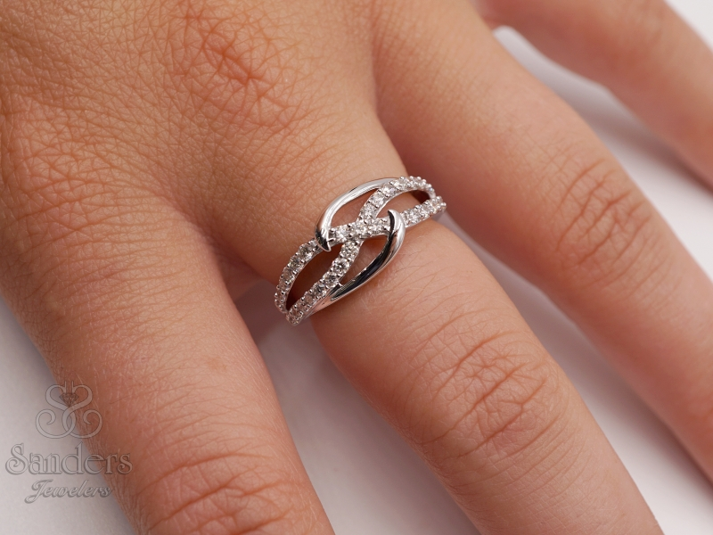 Rings - Interlocking Diamond Fashion Ring - image #3
