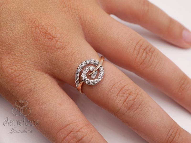 Rings - Swirling Diamond Fashion Ring - image 3