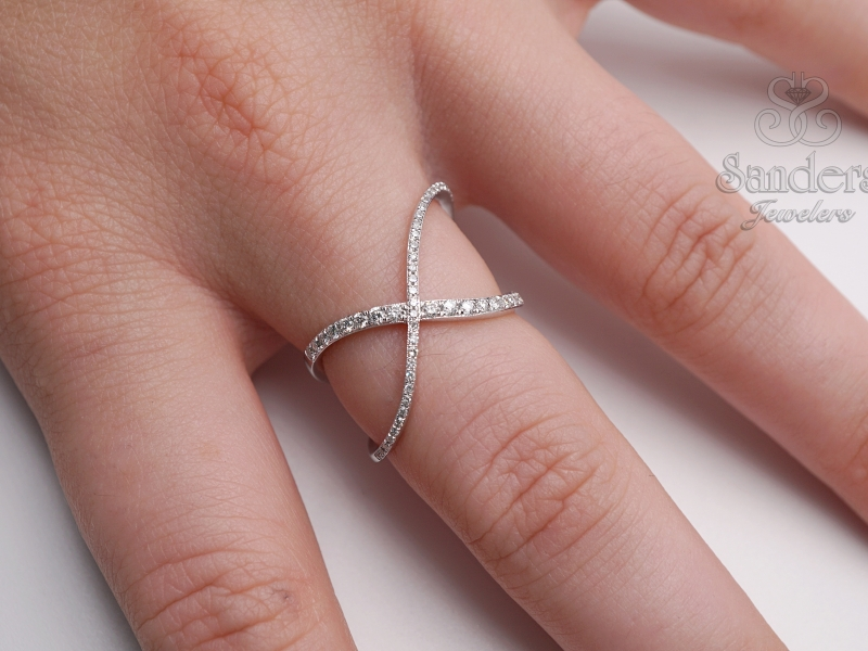 Rings - Overlapping Diamond Fashion Ring - image #2