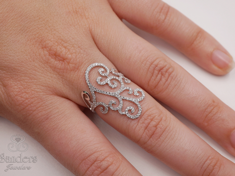 Rings - Filigree Diamond Cocktail Ring - image #2