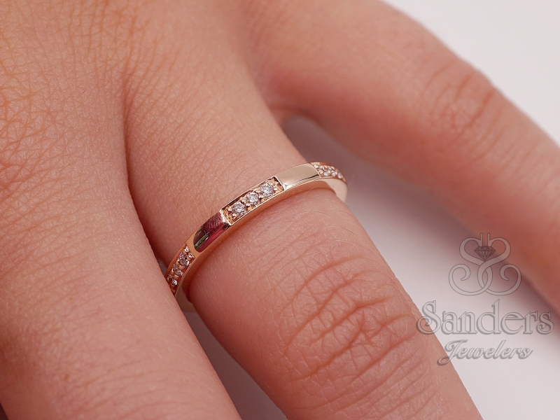 Bridal Jewelry - Rose Gold Diamond Station Band - image #2